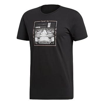 Adidas Category Athletics (Manga Corta Camiseta, otoño/Invierno, Hombre, Color Negro