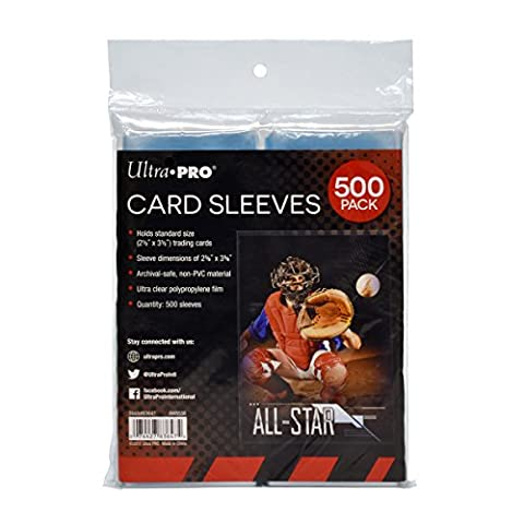 Ultra PRO Clear Card Sleeves for Standard Size Trading Cards measuring 2.5
