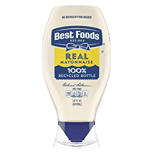 Best Foods Real Mayonnaise Squeeze Bottle Made from 100% Recycled Plastic, No-Mess Cap, Made with Cage Free Eggs, Gluten Free, 20 oz, Pack of 12