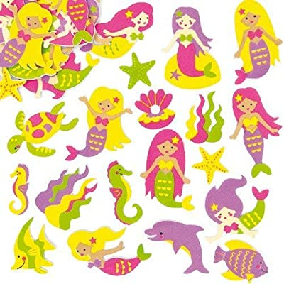 Baker Ross Mermaid Foam Stickers (Pack of 120) for Kids to Decorate Summer Cards Crafts and Collage: Arts, Crafts & Sewing