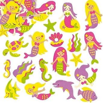 Pegatinas de Espuma con Diseños de Sirena para Decorar Tarjetas, Cuadernos, Manualidades y Collages Infantiles (Pack de 12): Amazon.es: Industria, empresas y ciencia