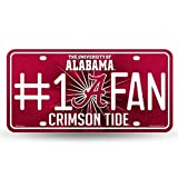 NCAA Alabama Crimson Tide Bling #1 Fan Metal Auto Tag Plate, 12 x 6-Inch, Silver