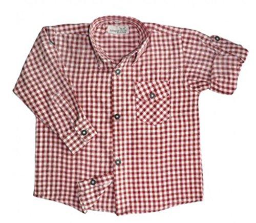 Kinder Trachtenhemd für Lederhosen Langarm Oktoberfest Trachten rot-weiss kariert 164/170