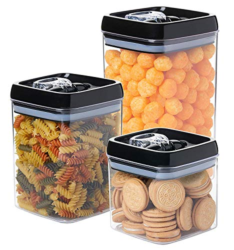 Guru Products Set Large Capacity Clear Food Containers w Black Airtight Lids Canisters for Kitchen and Pantry Storages - Storage for Cereal, Flour, Cooking - BPA-Free Plastic … (Black, 3pc)