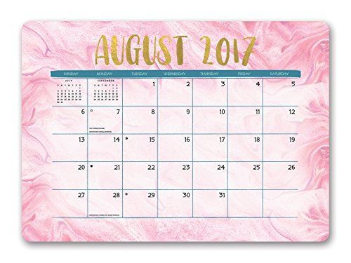 Orange Circle Studio 2018 Decorative Desk Blotter Calendar, Aug. 2017 - Dec. 2018, Gold Foil Marbling (Desk Calendar For Women)