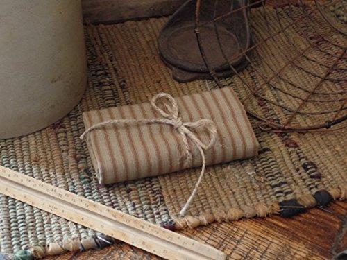 (Homespun Fabric~Mocha Ticking Stripe~Primitives~Country~Folk~One Yard Cut~Prim Hang Tag~)