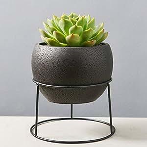 nattol 5.6pulgadas minimalista negro redondo cemento succclents contenedor/Cactus maceta con un decorativo de color negro Metal Accesorio de planta soporte para decoración (negro)