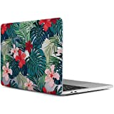 iDOO MacBook Pro 13 Case 2017 & 2016 Release A1706 / A1708, Soft Touch Plastic Hard Case Cover for Newest MacBook Pro 13 inch with / without Touch Bar - Tropical Palm Leaves with Red Flowers