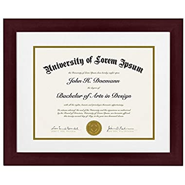Mahogany Document Frame - Made to Display Documents sized 8.5 x 11 Inch with Mat and 11 x 14 Inch without Mat - Document Frame, Certification Frame, High School Diploma Frame