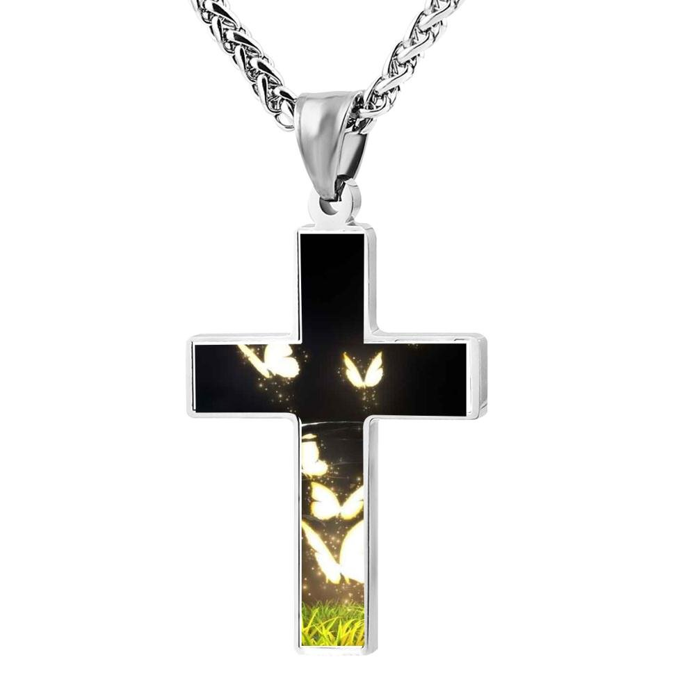 HRYU-1702 Polished Pretty Butterfly Christian Cross Necklace Religious Jewelry Pendant