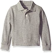 The Children's Place Baby Boys' Long Sleeve Uniform Polo, Smokey, 6-9 Months