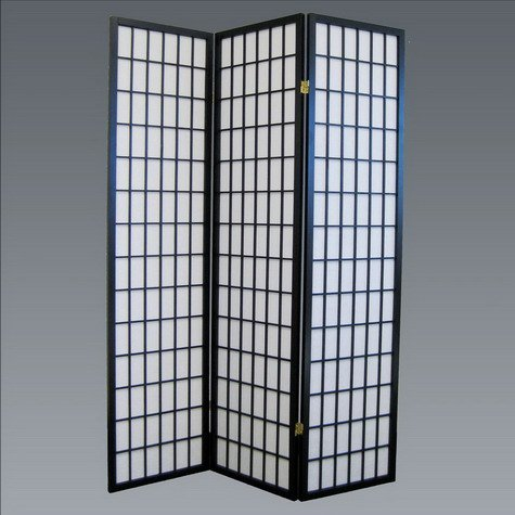 Brand New 18''x 71''H Black Finish 3-Panel Wood Room Divider / Screen