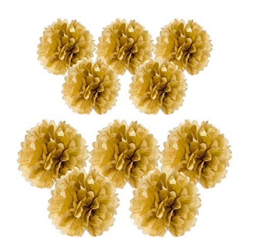 Yunko Set of 10 Gold Metallic Tissue Paper Pom Poms Flower Kit - Size 8 10 Inch Great for Decorations (Metallic Flower)