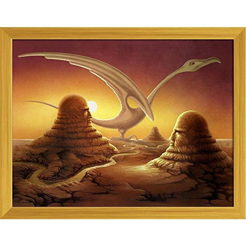 ArtzFolio Surreal Scene of Stone Sculptures in A Desert Canvas Painting Golden Wood Frame 20.5 X 16Inch