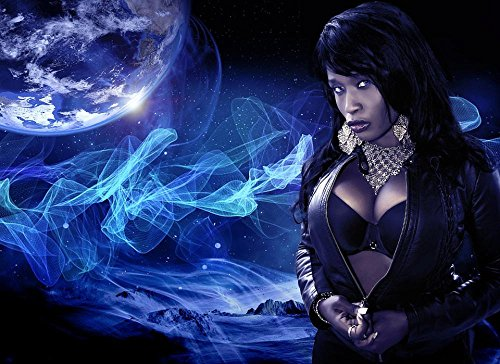 LAMINATED 32×24 POSTER: Woman Sexy Wallpaper Model Female Sensual Face Pretty Art Beauty Young Woman Background Space Planet Beautiful Girl Leather Fetish Black