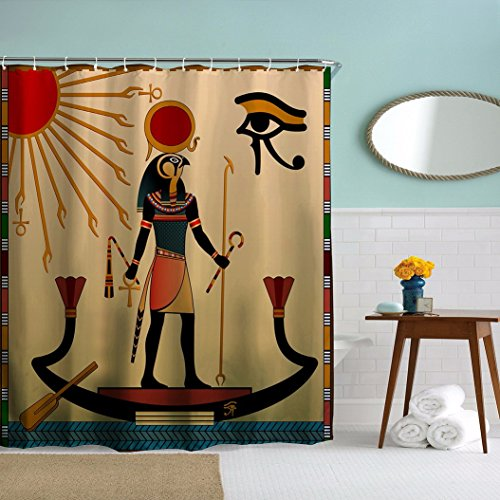 A.Monamour Ancient God Sun Ra Old Egyptian Faith Icon Traditional Print Waterproof Mildew Resistant Anti-Bacterial Fabric Polyester Shower Curtain For Bathroom Accessory 180X180 Cm / 72X72 Inch by A.Monamour