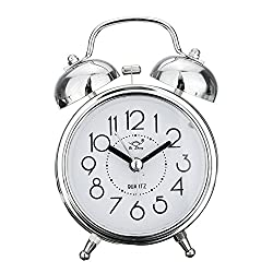 Retro Analog Quartz Alarm Clock,Super Silent Classic Twin Bell Silient Alarm Clocks with Night Light,Snooze Function,NoTicking Bedside Bedroom Travel Clock for Kids and Adults Loud Alarm(Silver)