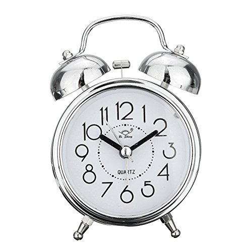 - Alarm Clock, Vintage Round Retro Twin Bell Silent Non Ticking Sweep Bedside Analog Quartz Alarm Clock wake up clock with Night light (Silver)