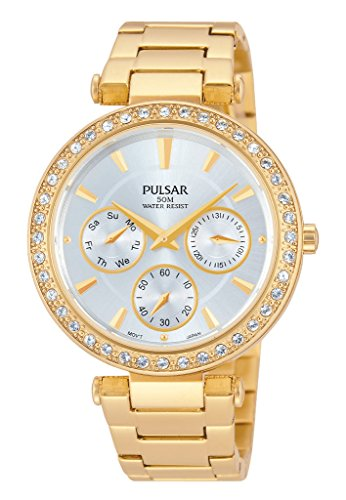 Pulsar PP6160 36mm Gold Plated Stainless Steel Case Gold Plated Stainless Steel Synthetic Sapphire Women's Watch