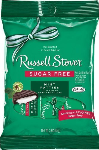 Russell Stover Sugar Free Peg Bag, Mint Patties, 3-Ounce (Pack of 12) by Russell Stover (Sugar Nutrition Stover Russell Free)