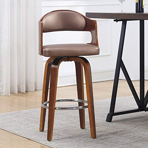 Leather Heights Chair Pacific (AC Pacific Wood and Faux Counter Seat Height Swivel Barstool Leather Copper Mid-Century 27-Inch)