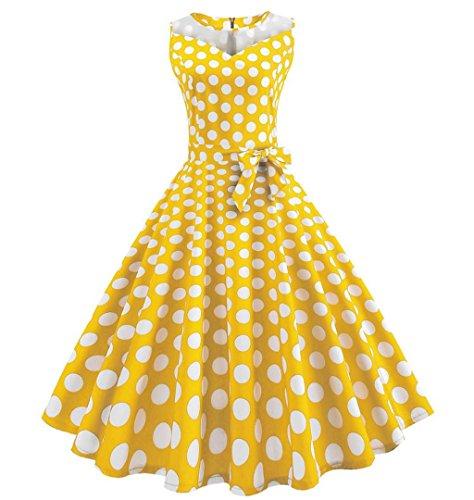 Swing Zezkt Retro Gelb Audrey Party Ausschnitt Elegant Rockabilly Hepburn Armelloses V Kleid Rundhals Prinzessin Festlich Brautjungfern Abend Vintage 50s Kleid