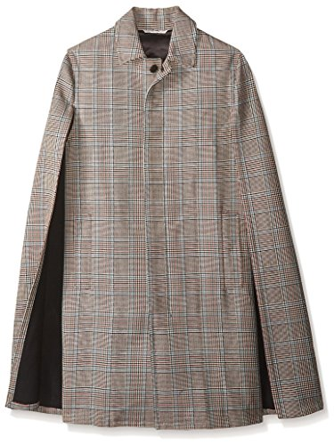 Glen Plaid Coat (Valentino Garavani Men's Glen Plaid Coat With Cape, Ivory/Multi, 46 EU)