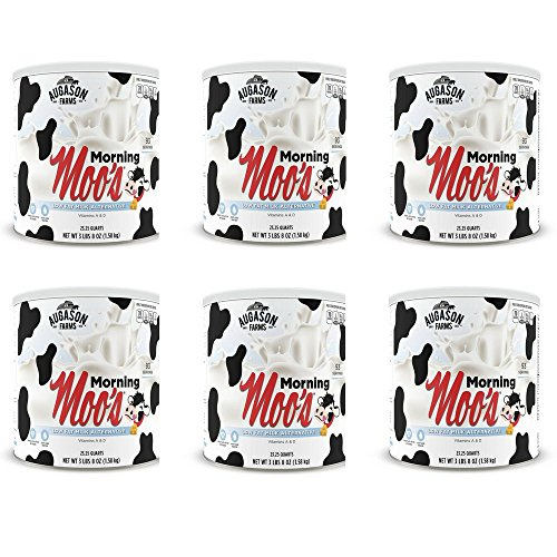 Augason Farms Morning Moo's Low Fat Milk Alternative 56 oz #10 Can, Pack of 6 by Augason Farms