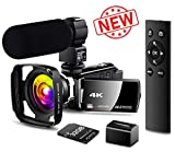 【New Upgrade】 4K Camcorder Vlogging Video Camera Ultra HD 60FPS Digital Recorder YouTube Camera 2.4G Remote Control IR Night Vision 3.0' IPS Touch Screen with Microphone,Wide Angle Lens,Lens Hood