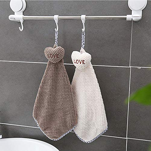Hot Sale!DEESEE(TM)❦❦New Cartoon Love Thickened Towel Kitchen Hanging Water Towel Kitchen Tool (White)