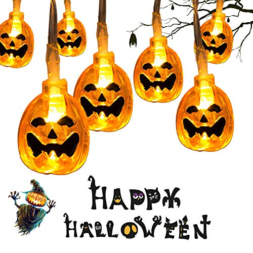 30LEDs Halloween String Lights, 9.8ft Pumpkin Lights, Battery Operated Outdoor Halloween Lights with Twinkle/Steady Light Modes, Warm White