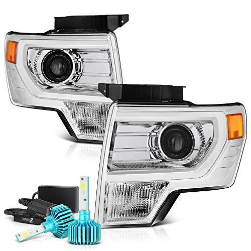 Built In Color Changing Rgb Led Low Beam Vipmotoz Projector Headlight Assembly For 2009 2014 Ford F 150 Factory Halogen Model Metallic Chrome Housing Driver And Passenger Side