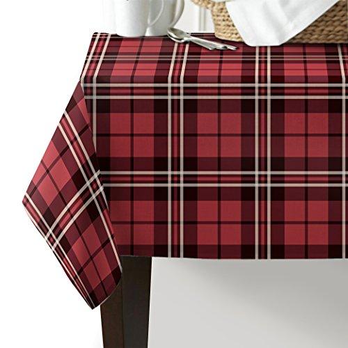 Tablecloth Cells Pool (Tablecloth Washable Cotton linen,Classic English Tartan Plaid Cells Stripes Scottish Geometric,Red Table Cover for Kitchen Dinning Tabletop Linen Decor Rectangle Oblong Tablecloths 54x54inch)