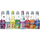 Ramune Japanese Marble Soft Drink Mix Variety 8 Flavors 8 Bottles by Hata Shanderia