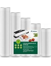 Aobosi Vakuumförseglingspåsar Vacuum Food Sealer Rolls Fri från BPA & LFGB-godkända matförvaringsväskor 5 rulle (12+15+20+25+28)cmx600cm, för Sous Vide Cooker och alla vaccinförseglingsmaskiner