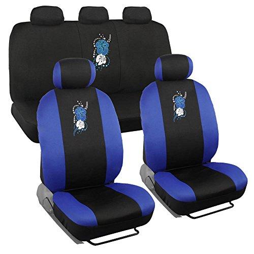 BDK SC-452-BL 9 Piece Blue Hawaiian Hibiscus Flower Print Design Car Auto Seat (Hibiscus Car Seat Cover)