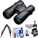 Nikon Monarch 5 10x42 ED ATB Waterproof / Fogproof Binoculars with Case + Harness + Smartphone Adapter + Cleaning Kit