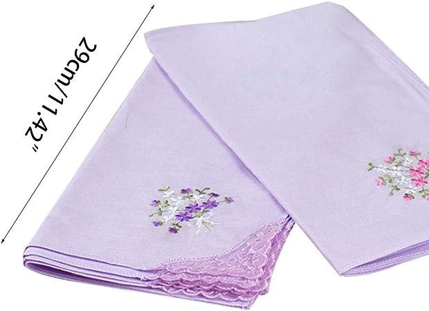ecmqs fazzoletto donna/ /3/pezzi 29/x 29/cm fazzoletto quadrato floreale ricamato colore di caramelle tasca fazzoletto Patchwork di pizzo cotone bavaglini bambino portatile asciugamano rosa
