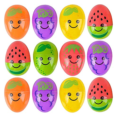 Kicko Fruit Eggs - Pack of 12-2.5 Inch Plastic Fruit Print Eggs for Easter Basket Fillers, Treasure Chest Stuffers, Novelty Toy, Party Supplies (Easter Christmas Eggs)