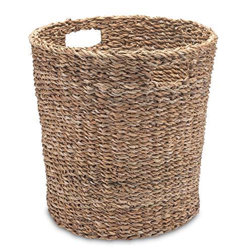 Gruener Handel Papierkorb Seegras Rund mit Eingriff – Natur – Handarbeit – Fair Trade (Ø 35cm)