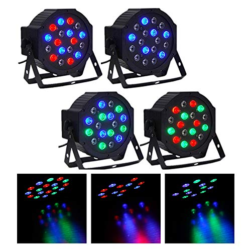 - CO-Z LED Stage Lights, 4 Pack 18x3W RGB Par Lights, 4pcs 7 Modes DMX Controlled Sound Activated Stage Effect Lighting for DJ Home Party Festival Dancing Bar Club Wedding Church Uplighting