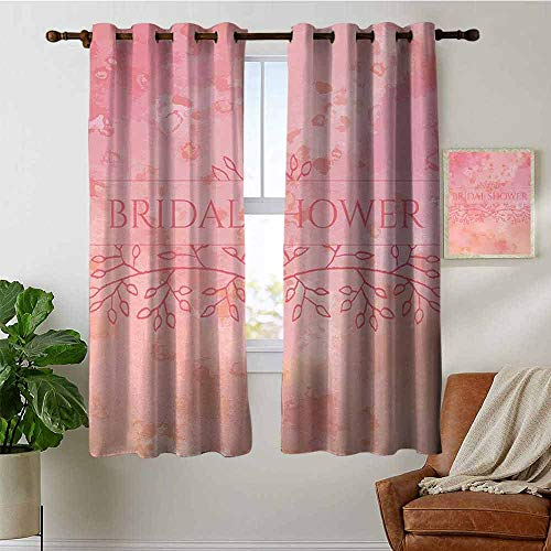 petpany Blackout Curtains Bridal Shower,Bride Invitation Grunge Abstract Backdrop Floral Design Print,Light Pink and Salmon,Thermal Insulated Panels Home Décor Window Draperies for Bedroom 42