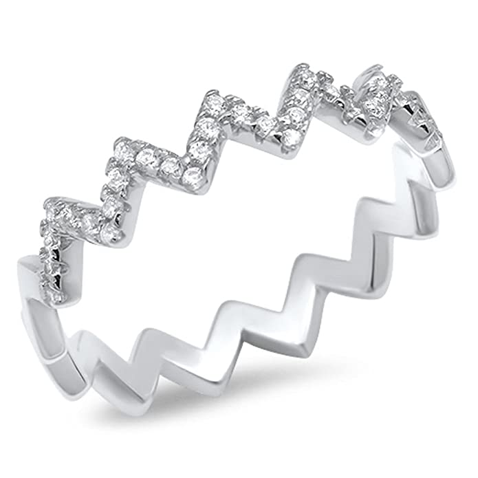 Princess Kylie 925 Sterling Silver Eternity Alternating Hearts Ring