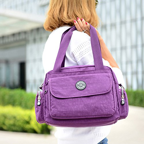 MeCooler Bolso Bandolera Impermeable Bolsos de Mano Mujer Casual Moda Escolares Bolsas de Deporte Bolsos Escuela Ligero Bolsas de Viaje para Tablet Sport Bag Beige