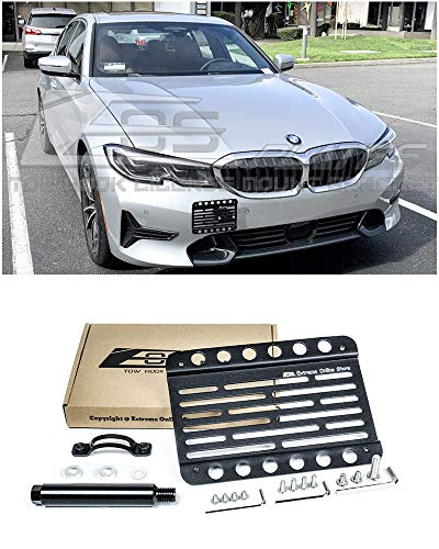 (Extreme Online Store for 2019-Present BMW G20 3-Series Base Bumper Models | EOS Version 1 Mid Sized Front Bumper Tow Hook License Plate Relocator Mount Bracket)