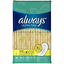 Always Sanitary Pads, Ultra Thin Without Wings, Regular Absorbency, Feminine Pads, 44 Count (Pack of 3)(Packaging artwork may vary)