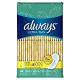 Always Ultra Thin Size 1 Regular Pads Without Wings, Unscented, 44 count- Packing may vary (Pack of 3)