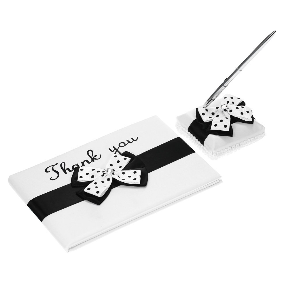 Satin Wedding Guset Signature Book and Pen Stand Set with White Black Bowknot Decoration