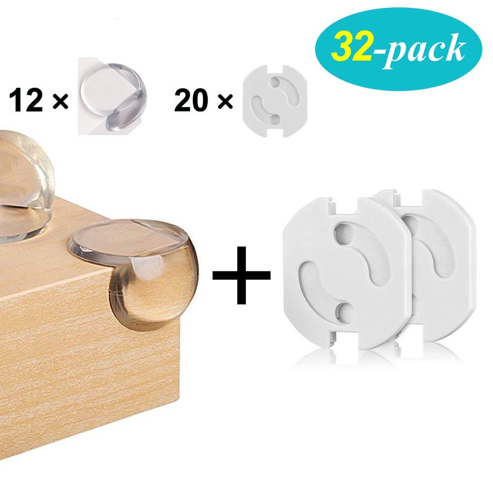 DireeKids 32 Pezzi 20 X Protector Enchufes & 12 X Protectores de Esquina Seguridad Enchufes Bebes Proteccion, Protecciones para Bordes y Esquinas para Muebles (32-pack)