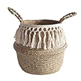 Woven Seagrass Storage Basket, Woven Basket Plant